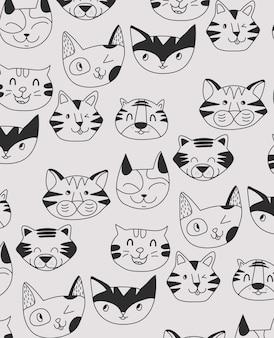 Hand getekend schattige tijger patroon