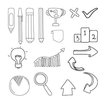 Hand getekend school infographic elementen collectie