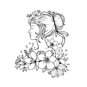 Hand getekend schoonheid jonge vrouw met bloemen