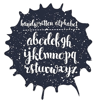 Hand getekend script alfabet. calografische brieven geschreven met een brush pen met inkt