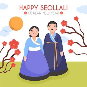 Hand getekend seollal koreaans nieuwjaar