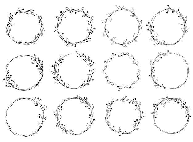 Hand getekend set cirkel bloemen frame illustratie.