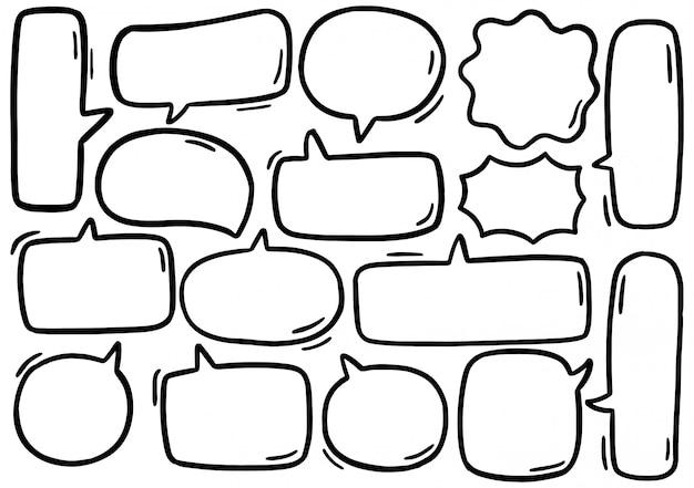 Hand getekend set van schattige tekstballon in doodle stijl