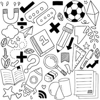 Hand getekend set van school pictogrammen ornamenten
