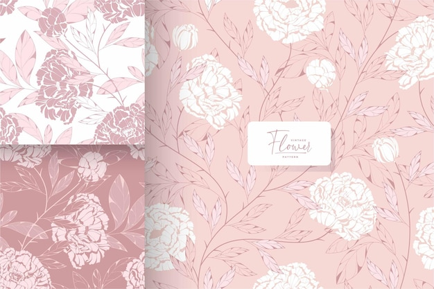 Hand getekend shabby chic roze bloemenpatroon