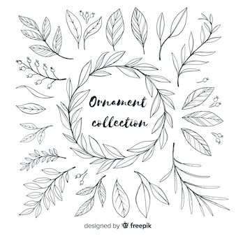 Hand getekend sieraad collectie van bladeren