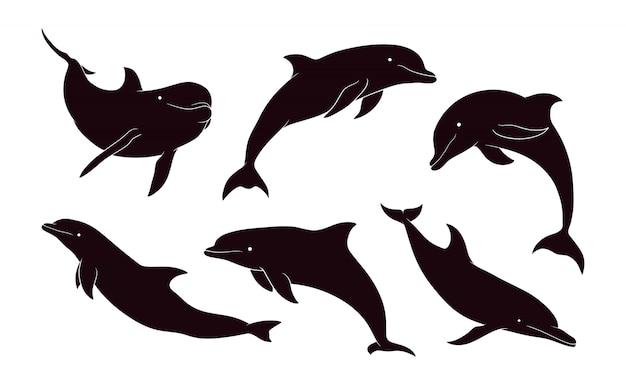 Hand getekend silhouet van dolfijn