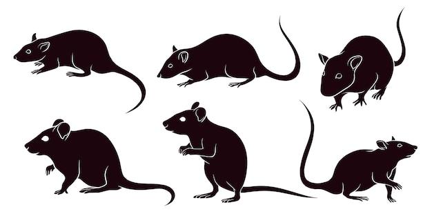 Hand getekend silhouet van ratten