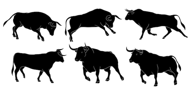 Hand getekend silhouet van stier