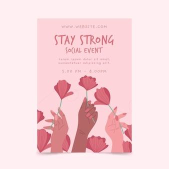 Hand getekend sjabloon folder met geïllustreerde rozen