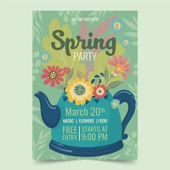 Hand getekend sjabloon voor folder voor lente-feest