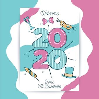 Hand getekend sjabloon voor het nieuwe jaar 2020 feest folder