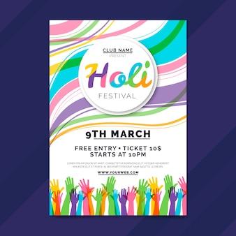 Hand getekend sjabloon voor holi festival flyer