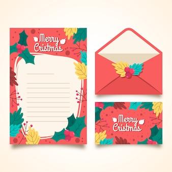 Hand getekend sjabloon voor kerst briefpapier
