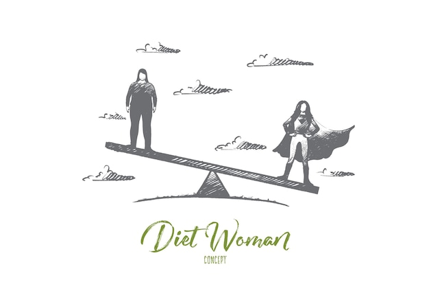 Hand getekend slank en dik vrouwen staan op weegschaal