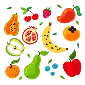 Hand getekend smakelijke fruit set