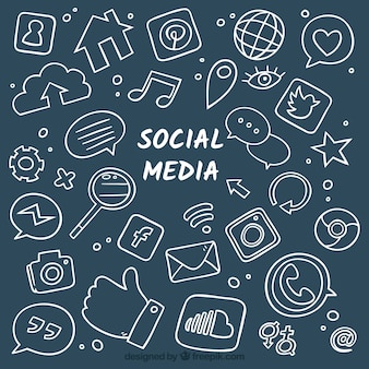 Hand getekend sociale media achtergrond