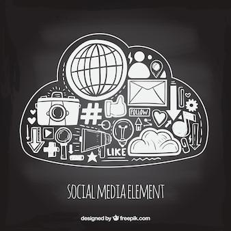Hand getekend sociale media-elementen in een wolk-vorm