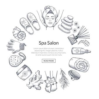 Hand getekend spa banner met elementen in cirkel