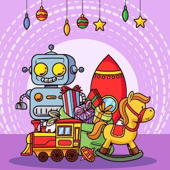 Hand getekend speelgoed kerstcollectie