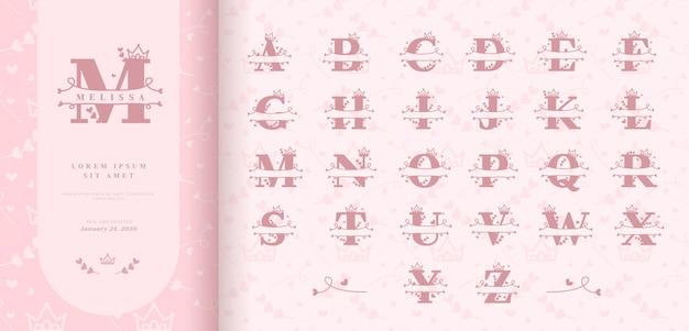 Hand getekend split letters voor baby meisjesnaam