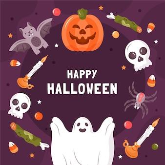 Hand getekend spooky halloween frame