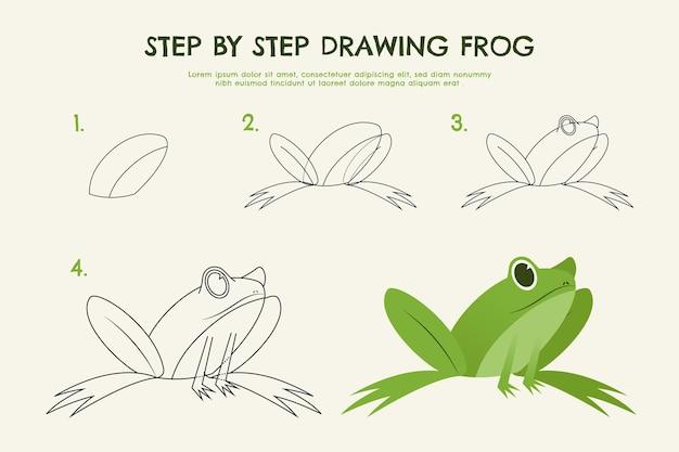 Hand getekend stap voor stap tekening kikker