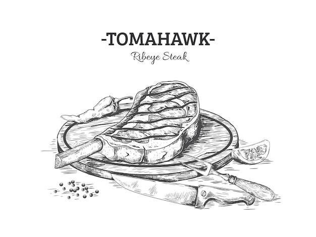 Hand getekend steak illustratie