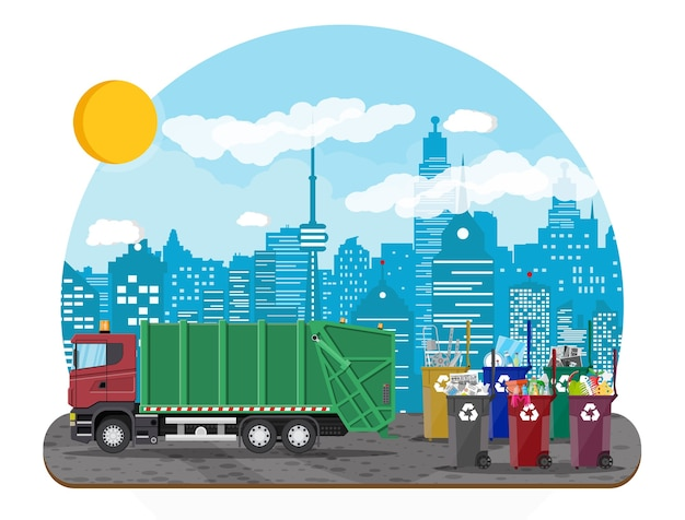 Hand getekend stedelijke recycling illustratie