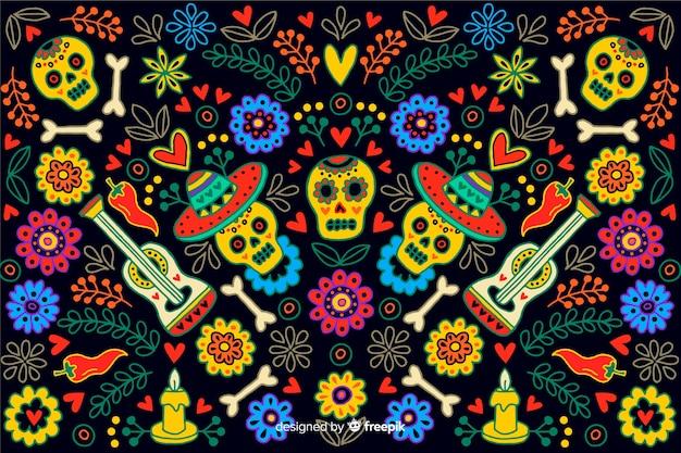 Hand getekend stijl dag van de dode achtergrond