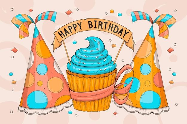 Hand getekend stijl verjaardag achtergrond