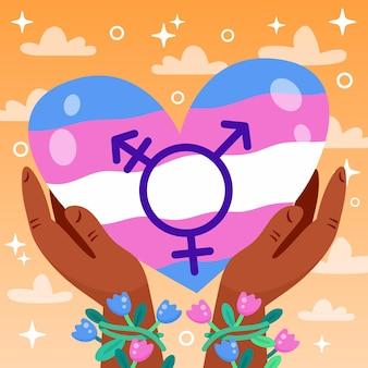 Hand getekend stop transfobie bericht geïllustreerd