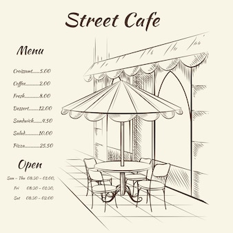 Hand getekend straatcafé menu