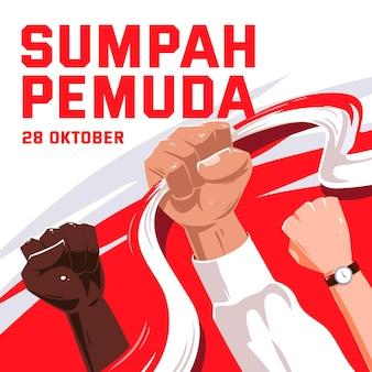 Hand getekend sumpah pemuda concept