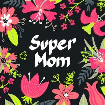 Hand getekend super mom typografie