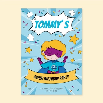 Hand getekend superheld verjaardagsuitnodiging