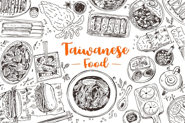 Hand getekend taiwanese gerechten, illustratie