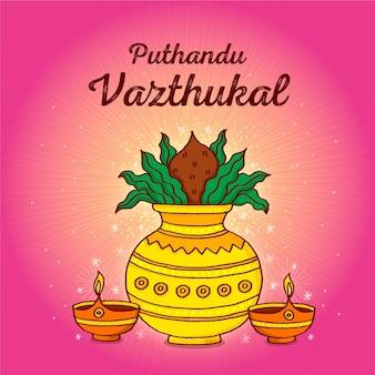 Hand getekend tamil nieuwjaar illustratie