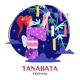Hand getekend tanabata festival illustratie Gratis Vector