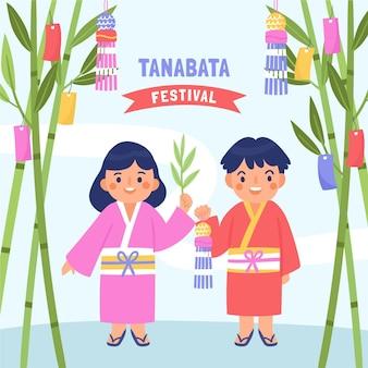 Hand getekend tanabata illustratie
