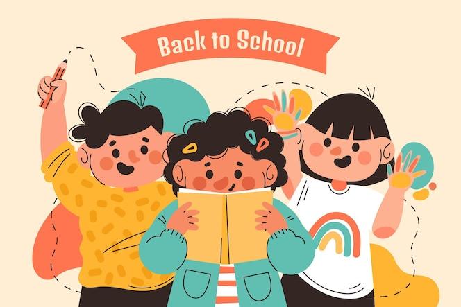 Hand getekend terug naar school achtergrond