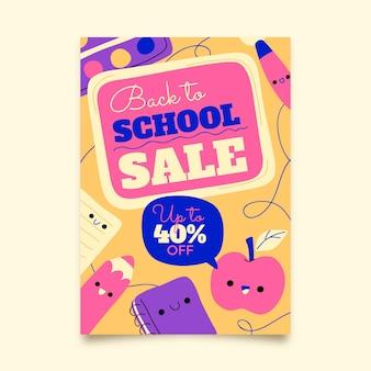 Hand getekend terug naar school verticale verkoop foldersjabloon