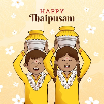 Hand getekend thaipusam festival