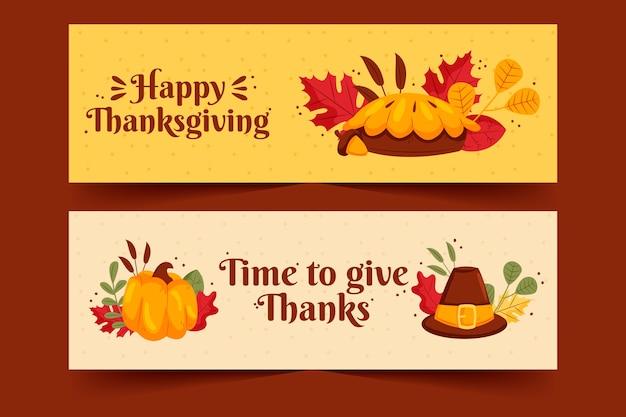 Hand getekend thanksgiving banners sjabloon