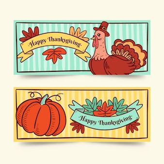 Hand getekend thanksgiving banners sjabloon