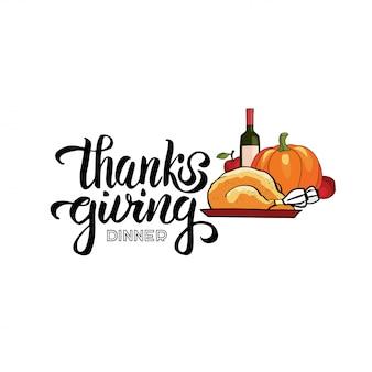 Hand getekend thanksgiving diner typografie concept met hand getrokken belettering