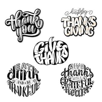 Hand getekend thanksgiving typografie citaten. viering belettering zinnen.