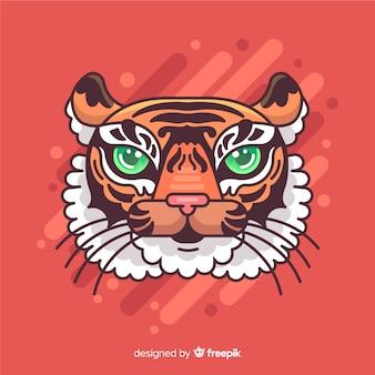 Hand getekend tijger hoofd achtergrond