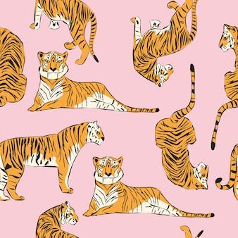 Hand getekend tijger naadloos patroon