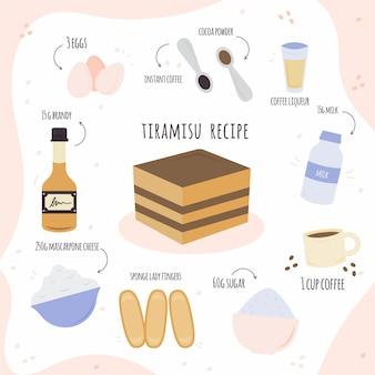 Hand getekend tiramisu recept